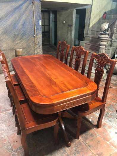 Bộ bàn ghế phòng ăn chữ nhật - gỗ xoan đào6