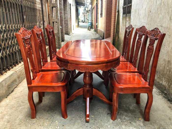 Bộ bàn ghế phòng ăn chữ nhật - gỗ xoan đào4