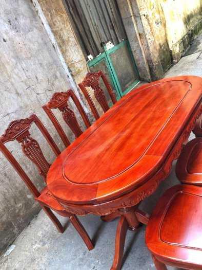 Bộ bàn ghế phòng ăn chữ nhật - gỗ xoan đào3