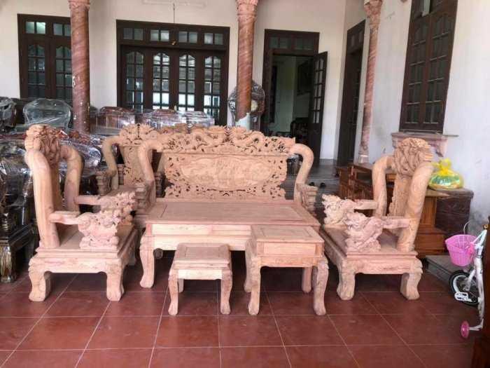 Bộ bàn ghế đồng kỵ rồng bát tiên gỗ hương đá0