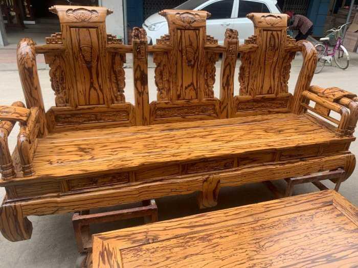 Bộ bàn ghế giả cổ tần thủy hoàng gỗ mun da báo8
