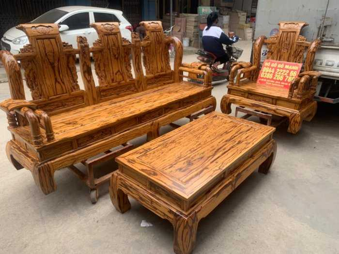 Bộ bàn ghế giả cổ tần thủy hoàng gỗ mun da báo2
