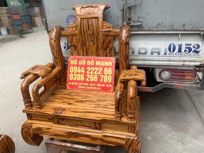Bộ bàn ghế giả cổ tần thủy hoàng gỗ mun da báo1