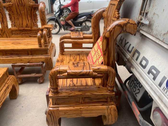 Bộ bàn ghế giả cổ tần thủy hoàng gỗ mun da báo0