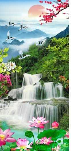 Tranh gạch phong thủy thác nước chảy - CB549