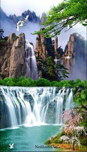 Tranh gạch phong thủy thác nước chảy - CB546