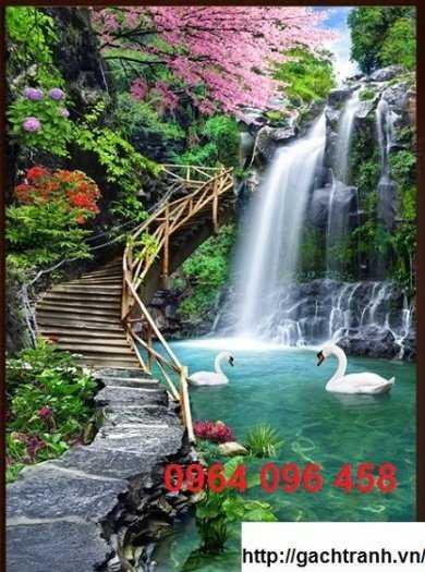 Tranh gạch phong thủy thác nước chảy - CB545