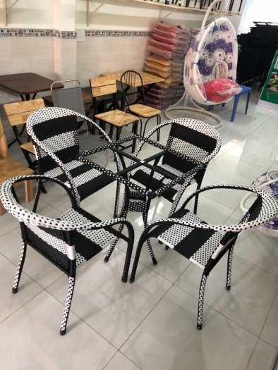 Bộ bàn ghế cafe nhựa giả mây giá tại xưởng0
