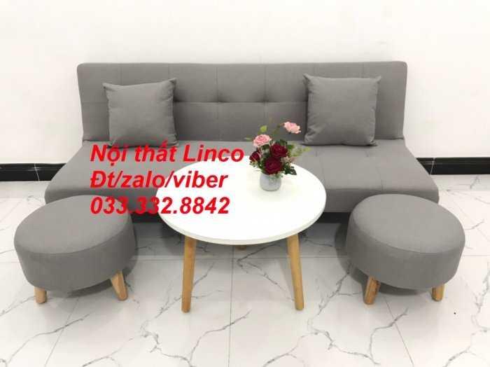 Set ghế sofa giường, sofa bed đa năng nhỏ gọn màu xám trắng vải bố sfg04 giá rẻ Nội thất Linco HCM Tphcm3