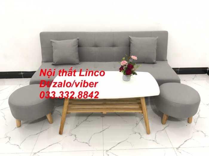 Set ghế sofa giường, sofa bed đa năng nhỏ gọn màu xám trắng vải bố sfg04 giá rẻ Nội thất Linco HCM Tphcm2