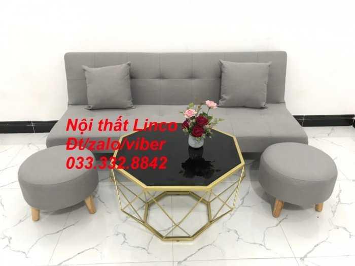 Set ghế sofa giường, sofa bed đa năng nhỏ gọn màu xám trắng vải bố sfg04 giá rẻ Nội thất Linco HCM Tphcm1