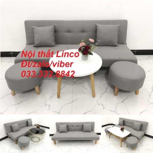 Set ghế sofa giường, sofa bed đa năng nhỏ gọn màu xám trắng vải bố sfg04 giá rẻ Nội thất Linco HCM Tphcm0