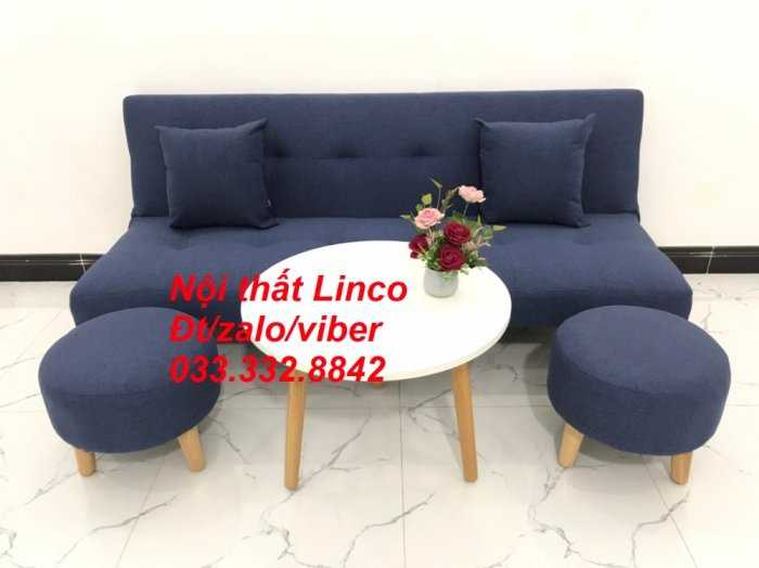 Combo bàn ghế sofa giường giá rẻ chất lượng màu xanh dương đậm vải bố sfg07 Nội thất Linco HCM Tphcm Hóc môn Củ Chi Bình Chánh3