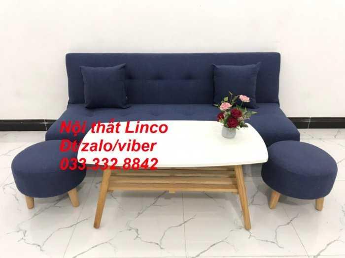 Combo bàn ghế sofa giường giá rẻ chất lượng màu xanh dương đậm vải bố sfg07 Nội thất Linco HCM Tphcm Hóc môn Củ Chi Bình Chánh2