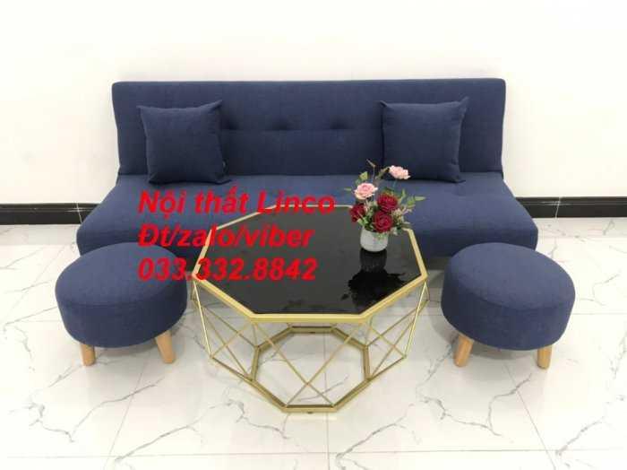 Combo bàn ghế sofa giường giá rẻ chất lượng màu xanh dương đậm vải bố sfg07 Nội thất Linco HCM Tphcm Hóc môn Củ Chi Bình Chánh1