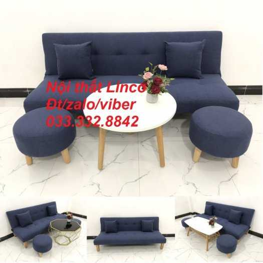 Combo bàn ghế sofa giường giá rẻ chất lượng màu xanh dương đậm vải bố sfg07 Nội thất Linco HCM Tphcm Hóc môn Củ Chi Bình Chánh0