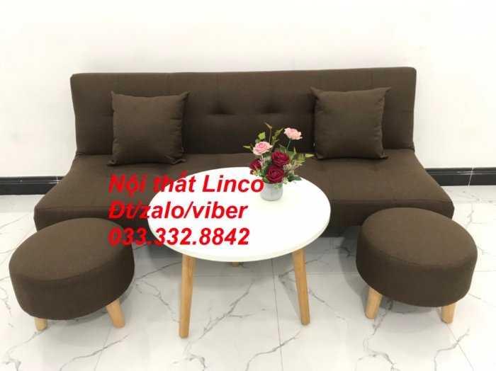 Bộ ghế sofa giường mini diện tích nhỏ sfg09 màu nâu đậm cafe vải bố Nội thất Linco HCM tphcm giá rẻ uy tín chất lượng quận thủ đức, 2, 9, bình thạnh3
