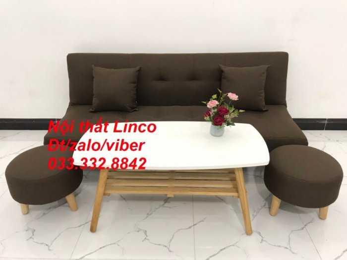 Bộ ghế sofa giường mini diện tích nhỏ sfg09 màu nâu đậm cafe vải bố Nội thất Linco HCM tphcm giá rẻ uy tín chất lượng quận thủ đức, 2, 9, bình thạnh2