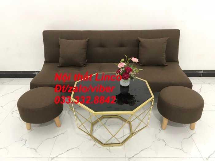Bộ ghế sofa giường mini diện tích nhỏ sfg09 màu nâu đậm cafe vải bố Nội thất Linco HCM tphcm giá rẻ uy tín chất lượng quận thủ đức, 2, 9, bình thạnh1