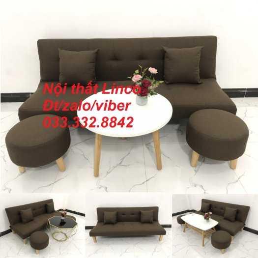 Bộ ghế sofa giường mini diện tích nhỏ sfg09 màu nâu đậm cafe vải bố Nội thất Linco HCM tphcm giá rẻ uy tín chất lượng quận thủ đức, 2, 9, bình thạnh0
