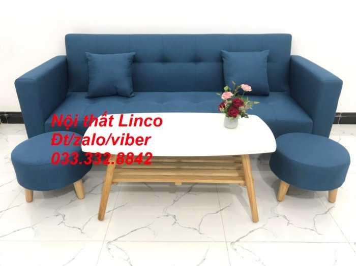 Bộ ghế sofa giường 2 tay vịn, sofa băng dài 2m sfgtv01 xanh dương da trời vải bố Nội thất Linco HCM Tphcm quận Gò Vấp, Bình Thạnh, Bình Tân3
