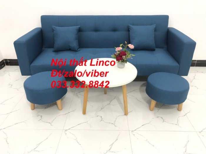 Bộ ghế sofa giường 2 tay vịn, sofa băng dài 2m sfgtv01 xanh dương da trời vải bố Nội thất Linco HCM Tphcm quận Gò Vấp, Bình Thạnh, Bình Tân2