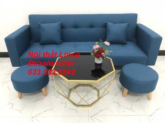Bộ ghế sofa giường 2 tay vịn, sofa băng dài 2m sfgtv01 xanh dương da trời vải bố Nội thất Linco HCM Tphcm quận Gò Vấp, Bình Thạnh, Bình Tân1