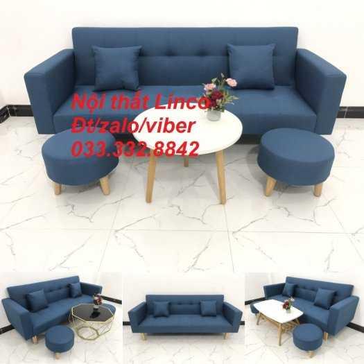 Bộ ghế sofa giường 2 tay vịn, sofa băng dài 2m sfgtv01 xanh dương da trời vải bố Nội thất Linco HCM Tphcm quận Gò Vấp, Bình Thạnh, Bình Tân0