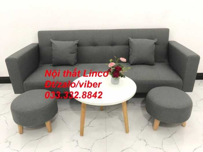 Combo bộ ghế sofa giường, sofa băng bật giường nằm phòng khách sfgtv04 xám lông chuột Nội thất Linco HCM Tphcm SG Sài gòn gò vấp3