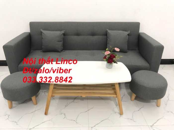Combo bộ ghế sofa giường, sofa băng bật giường nằm phòng khách sfgtv04 xám lông chuột Nội thất Linco HCM Tphcm SG Sài gòn gò vấp2