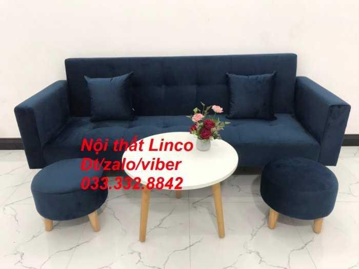 Set bộ ghế sofa giường 2 tay vịn, sofa băng văng dài 2m màu xanh dương đậm vải nhung Nội thất Linco HCM Sài Gòn Củ Chi, Hóc Môn, quận 123