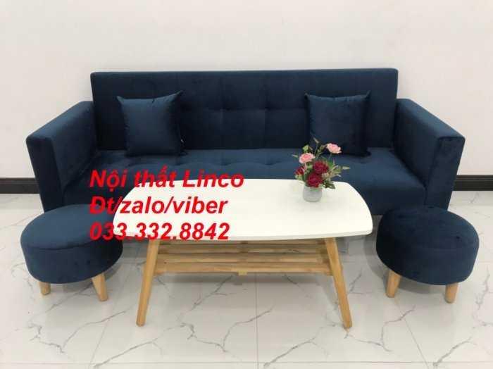 Set bộ ghế sofa giường 2 tay vịn, sofa băng văng dài 2m màu xanh dương đậm vải nhung Nội thất Linco HCM Sài Gòn Củ Chi, Hóc Môn, quận 122