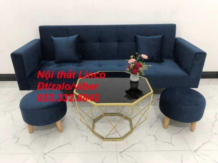 Set bộ ghế sofa giường 2 tay vịn, sofa băng văng dài 2m màu xanh dương đậm vải nhung Nội thất Linco HCM Sài Gòn Củ Chi, Hóc Môn, quận 121