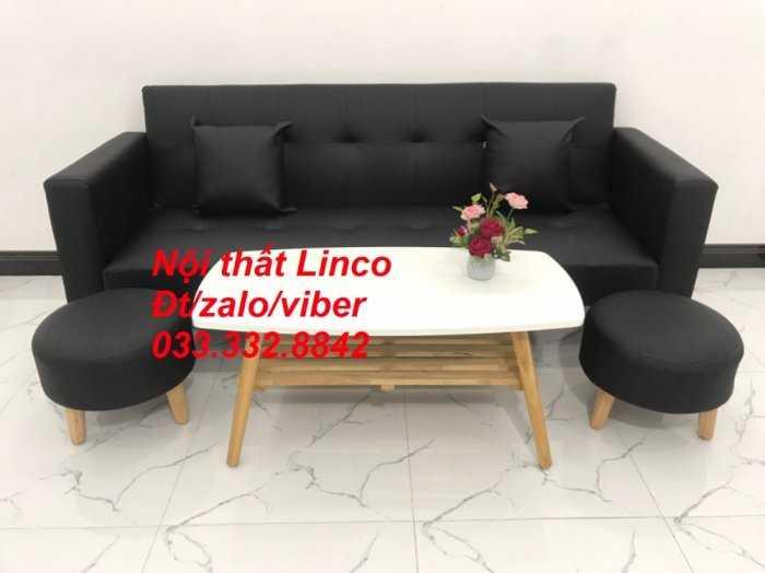 Set ghế sofa giường 2 tay vịn, sofa băng đa năng 2m simili giả da đen Nội thất Linco HCM quận Phú Nhuận, Tân Bình, 61