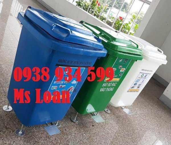 Thùng rác 60 lít, thùng rác y tế 60 lít, thùng rác y tế đạp chân 60 lít0