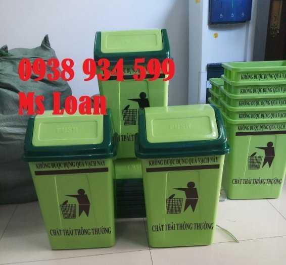 Thùng rác nắp bập bênh 60l, thùng rác nhựa 60 lít3
