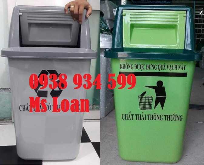 Thùng rác nắp bập bênh 60l, thùng rác nhựa 60 lít1
