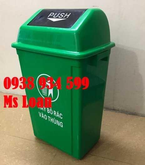 Thùng rác nắp bập bênh 60l, thùng rác nhựa 60 lít0