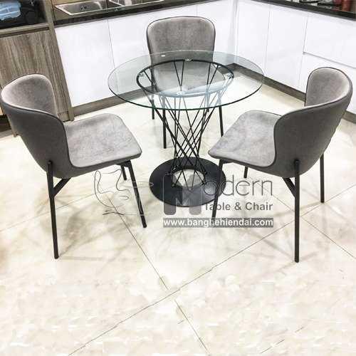 Bộ bàn tròn Cyclone 80 và 3 ghế Eco chân sắt để tiếp khách showroom0