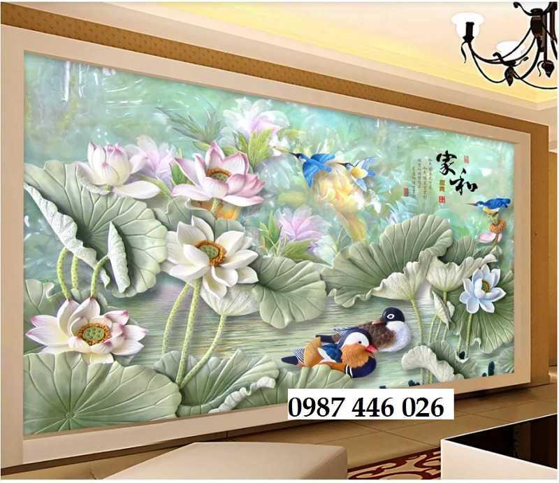 Tranh hoa sen, gạch ốp tường, tranh trang trí 3d HP821113
