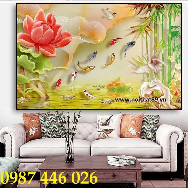 Tranh hoa sen, gạch ốp tường, tranh trang trí 3d HP821112