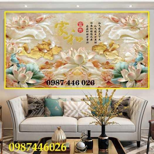 Tranh hoa sen, gạch ốp tường, tranh trang trí 3d HP821111