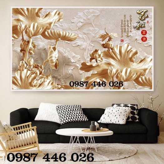 Tranh hoa sen, gạch ốp tường, tranh trang trí 3d HP821110