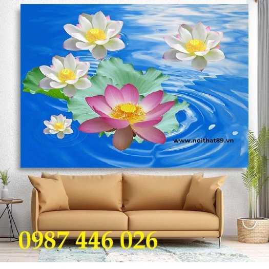 Tranh hoa sen, gạch ốp tường, tranh trang trí 3d HP82118