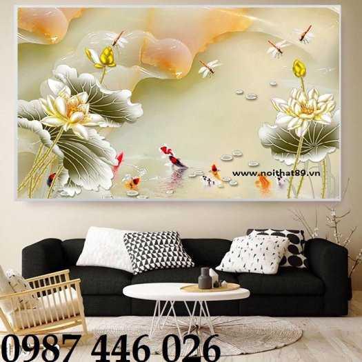Tranh hoa sen, gạch ốp tường, tranh trang trí 3d HP82117