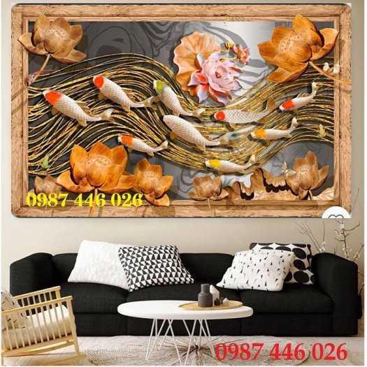 Tranh hoa sen, gạch ốp tường, tranh trang trí 3d HP82115