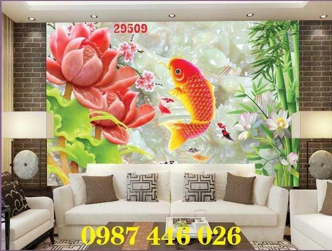 Tranh hoa sen, gạch ốp tường, tranh trang trí 3d HP82114