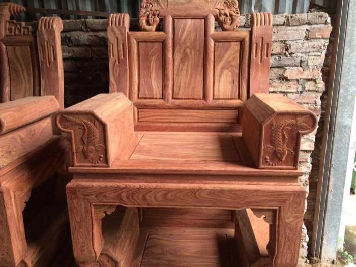 Bộ bàn ghế phòng khách âu á hộp kiểu như ý voi gỗ hương đá3