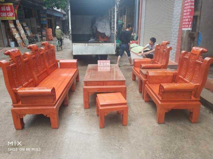 Bộ bàn ghế Âu Á hộp kiểu cuốn thư gỗ hương đá11