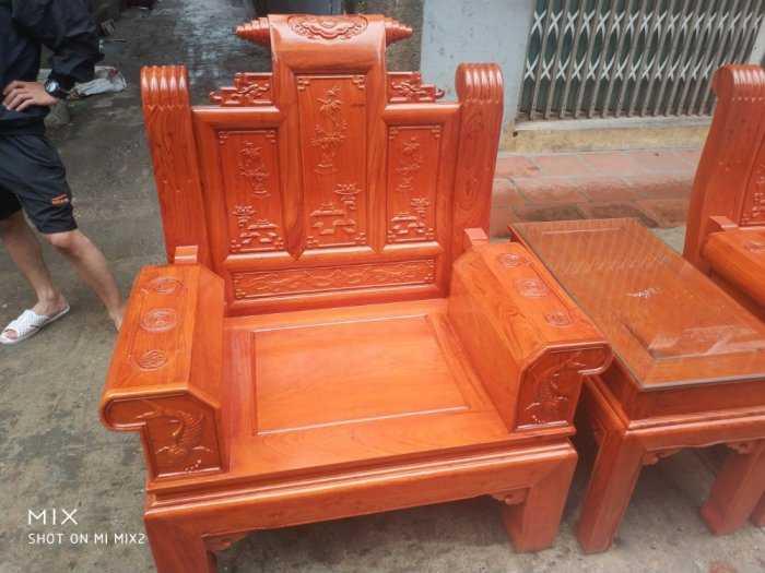 Bộ bàn ghế Âu Á hộp kiểu cuốn thư gỗ hương đá6